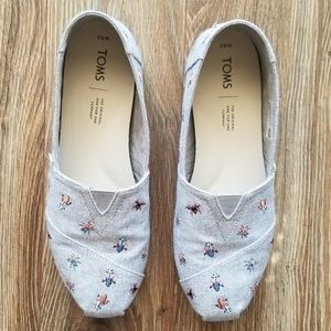 Toms Classic Canvas Slip On Embroidered Bugs